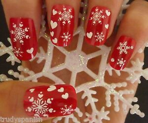 Christmas-Nail-Art-Stickers-Decals-White-Snowflakes-Glitter-Hearts-Gel-Polish-84