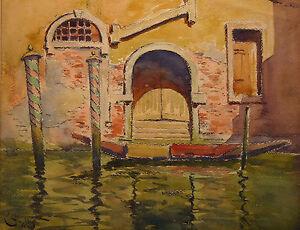 Ernest-Couronneau-XIX-Xx-View-of-Channel-in-Venice-Italy-San-Marco-Mestre