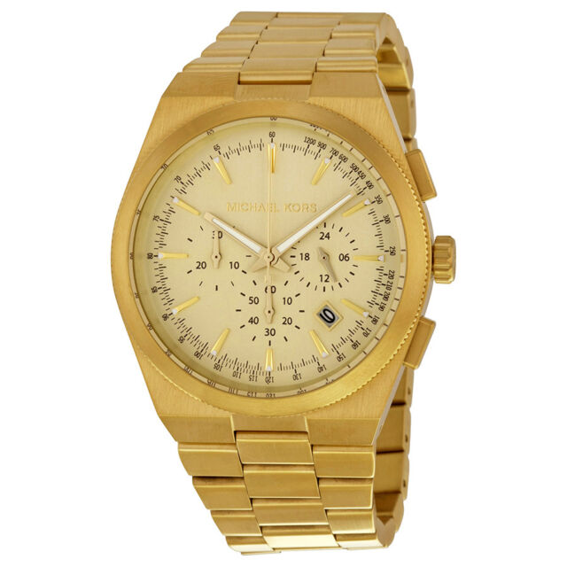 Michael Kors Channing Chronograph Champagne Dial Gold-plated Mens Watch MK8404