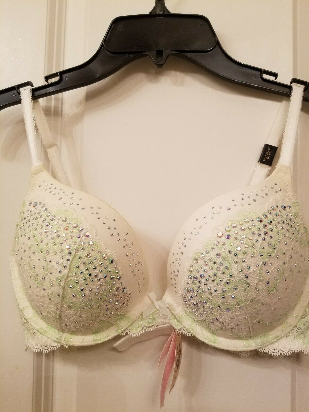 Victorias Secret DREAM Angels Green Shimmer Lace Push Up Without Padding Bra 38 C