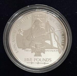 """1st Lancashire Fusiliers Jersey £5 Silver Proof 2006 - France - Commentaires du vendeur : """"Exceptional, in transparent case"""" - France"""