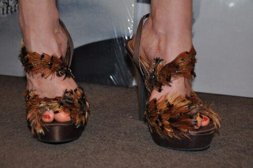 3 Michele barca da 36 sandalo vera Unique cristalli satinata anne pelliccia Scarpa 1T6cqZyP6