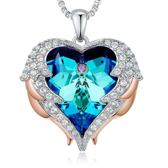 7ec360fa435 BLUE PENDANT LOVE HEART NECKLACE - BIRTHDAY GIFTS FOR WIFE GIRLFRIEND WOMEN  MOM
