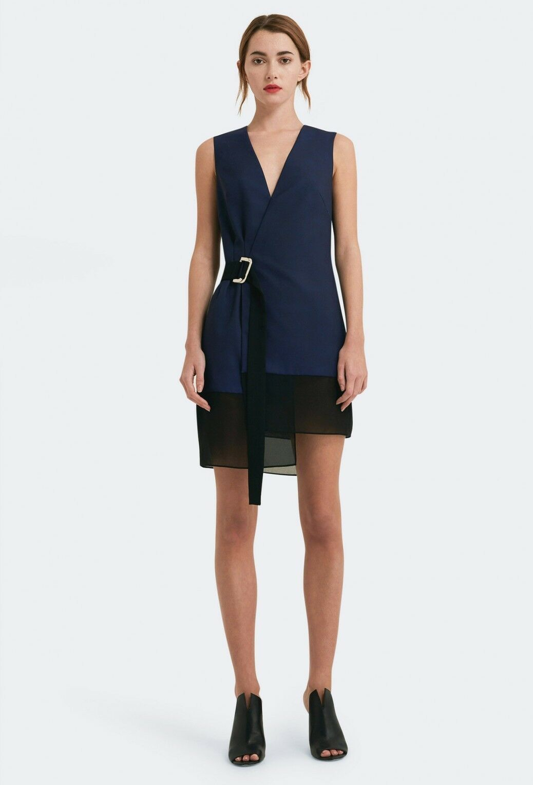 AQAQ Aileen Deep Plunge Mini Dress Blau Größe LF083 ii 03