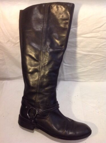 Autograph Black High Knee Leather Size Boots 7 6zrf6Z