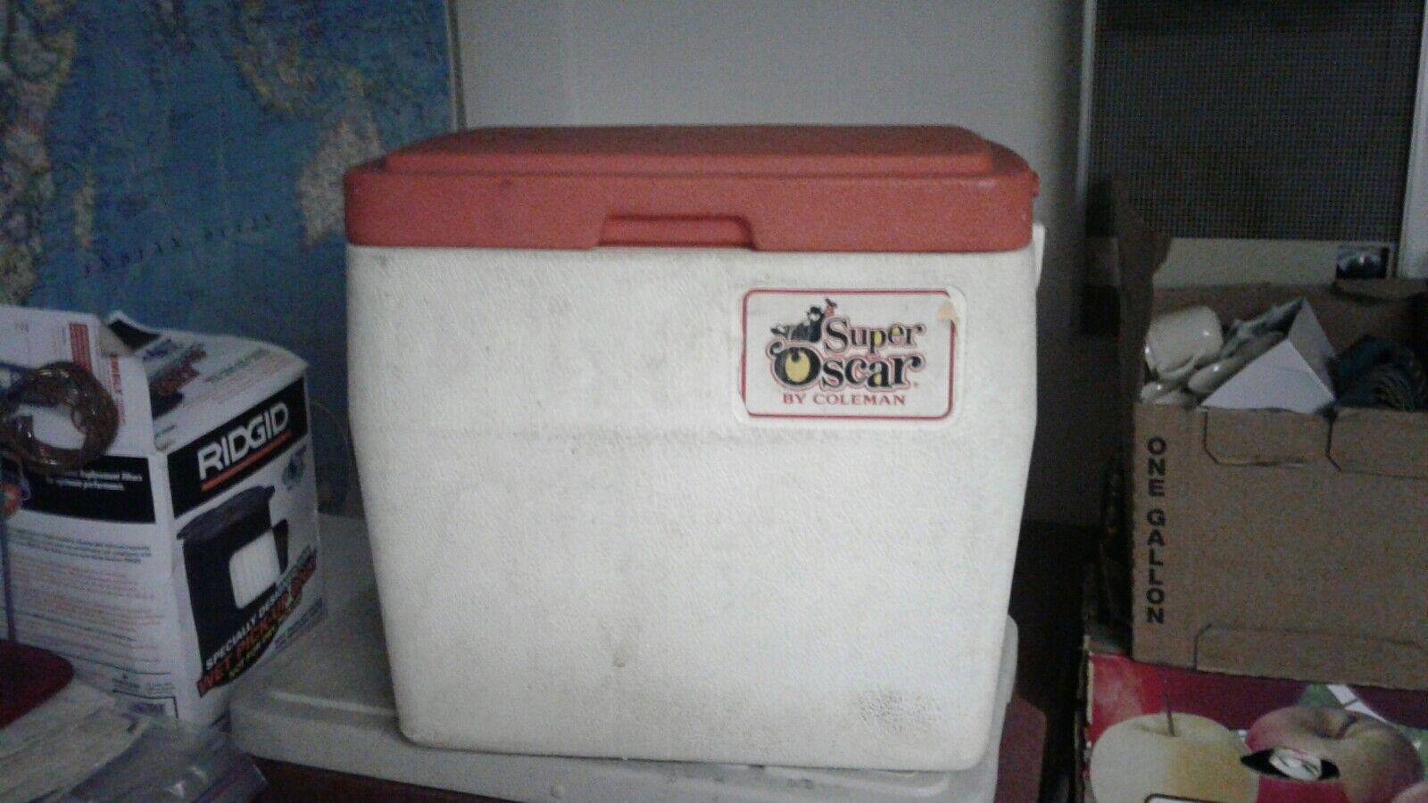 Vintage Coleman Super Oscar Cooler Red Lid Rare Six Gallon Size 1980s Fishing
