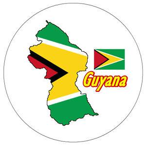 Guayana Mapa / Bandera - Recuerdo Novedad Redondo Imán de Nevera - Miras /