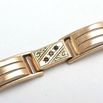 Vintage Garne 14k rose gold Bracelet Antique Engraved link Estate Chunky