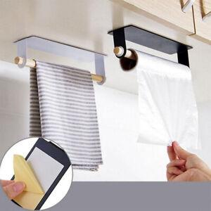 Kitchen-Self-adhesive-Roll-Paper-Holder-Towel-Storage-Rack-Hanger-Storage-Shelf