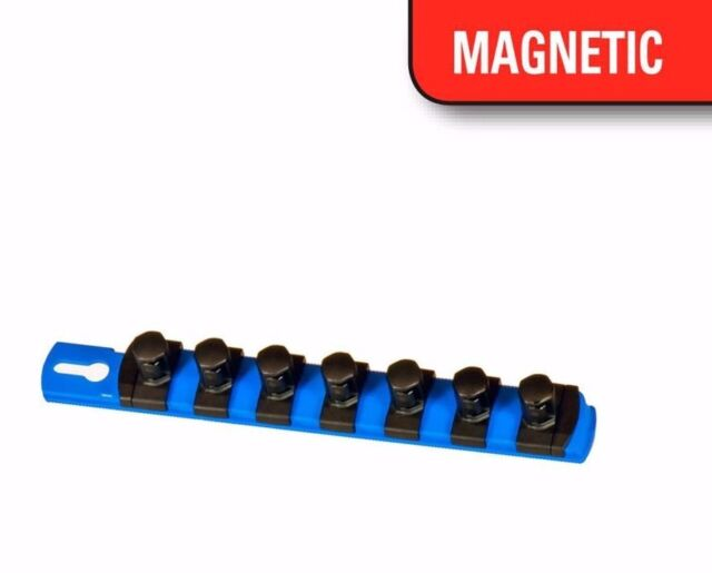 "Ernst 8408M 8""  3/8"" Drive Magnetic Socket Organizer w/9 Twist Lock Clips - Blue"