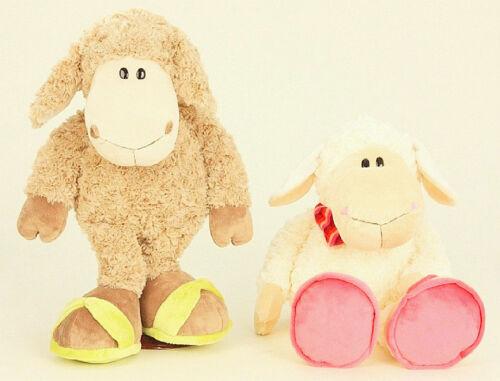 Flauschiges Plüschtier Schaf mit Schuhen 58cm Braun oder Creme-Weiss Kuscheltier