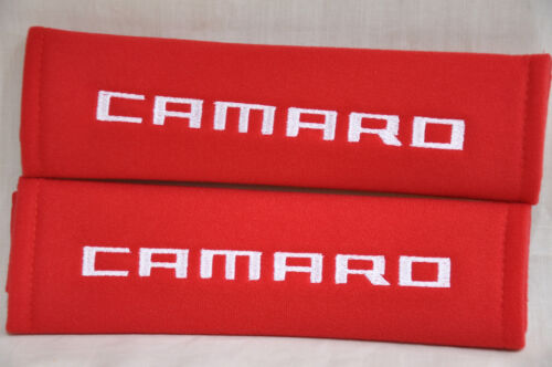 Embroidery Chevrolet Camaro Red Plush Soft Seat Belt Cover Shoulder Pad Pair