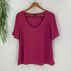 Ann Taylor Womens Pullover Blouse Size M Pink Scoop Neck Shirt Top Jersey Knit