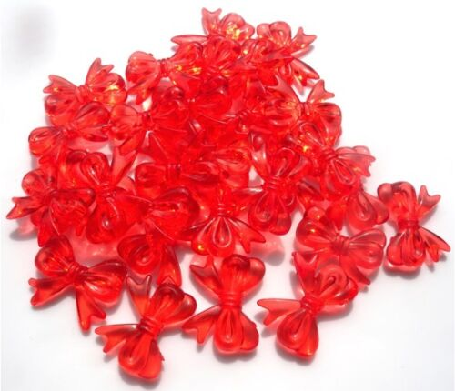 IN VARIOUS COLOURS FAST FREE P/&P 25 GORGEOUS LARGE BOW KNOT BEADS 30MM X 23MM
