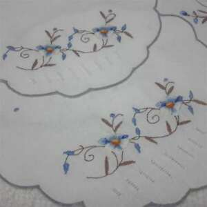 Vintage-1960s-Embroidered-Doilies-Duchess-Set-Blue-Flowers