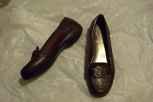 womens covington brown leather penny loafers shoes size 8 1/2
