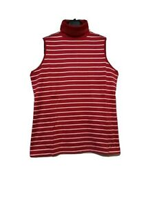 Tommy-Hilfiger-Red-And-White-Striped-Highneck-Sleeveless-Top
