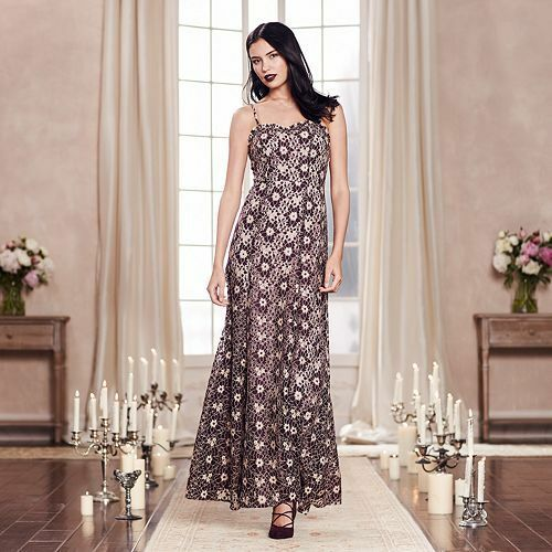 Lc Lauren Conrad Womens Runway Collection Maroon Floral Lace Maxi