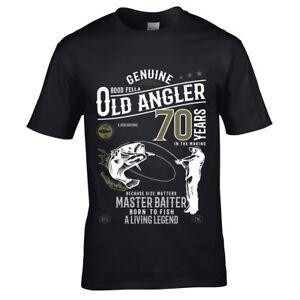 Dettagli Su Divertente 70 Anni Pescatore Pesca Uomo T Shirt Top 70esimo Regalo Compleanno