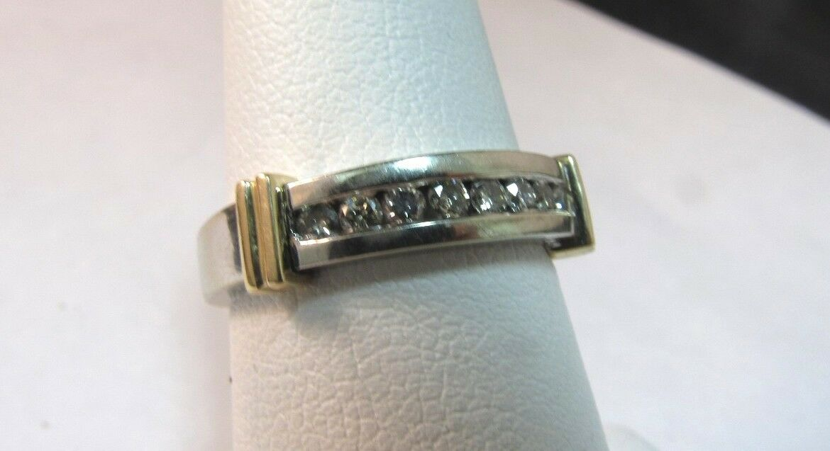 14K Solid White &Yellow gold Diamond Ring-Size 6   SALE-SAVE  850.