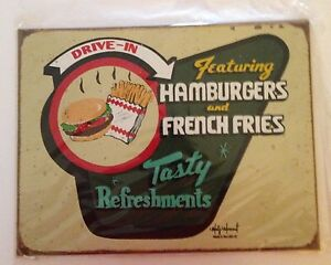 Vintage-Reproduction-034-Hamburgers-and-French-Fries-034-Sign-by-Mummert-Sign-Co