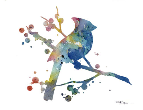 Cardinal Abstract Watercolor Painting Art Print by Artist DJ Rogers