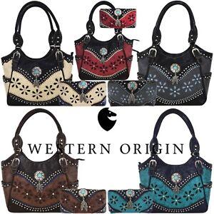 b0cc5460c713 Details about Western Handbag Tooled Leather Concealed Carry Purse Women  Shoulder Bag   Wallet