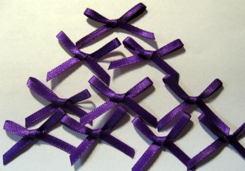 Bow is approx 35-40mm wide 10 x  PURPLE SATIN BOWS 3mm wide Ribbon
