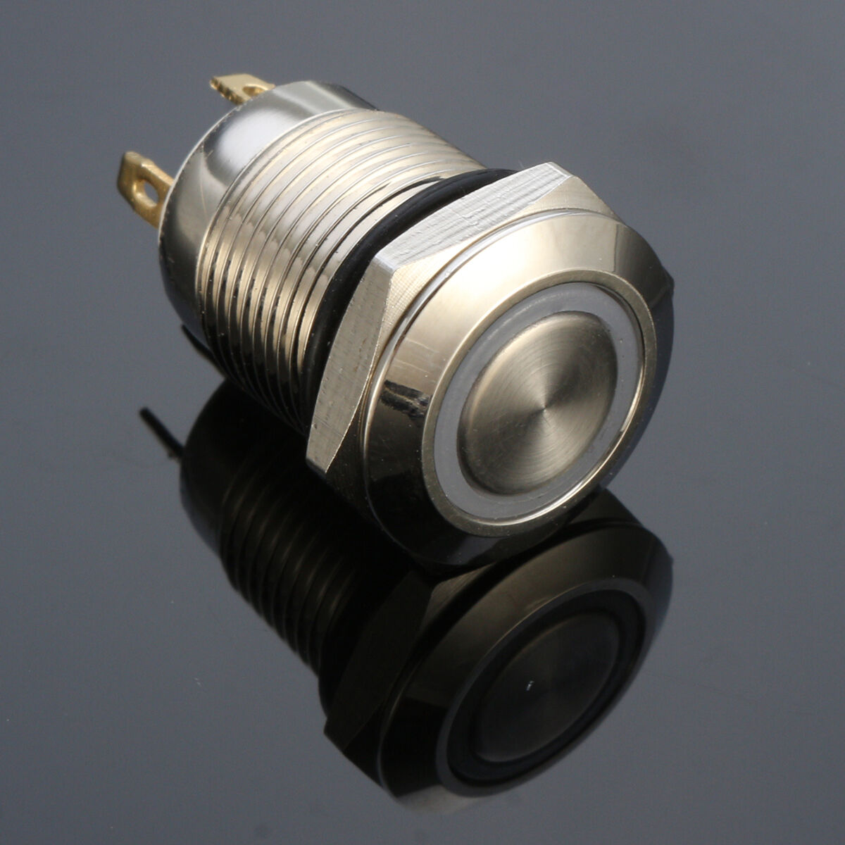 12V Chrome 4 Pin Led Light 12mm Metal Push Button Momentary Switch ...