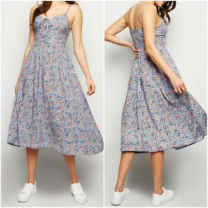 New-Look-Ladies-Lilac-Floral-Print-Summer-Holiday-Dress-Size-10-12