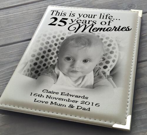 """Libro De Firma Guestbook Personalizado álbum de fotos 7x5/"""" X 36 25th regalo de cumpleaños."""