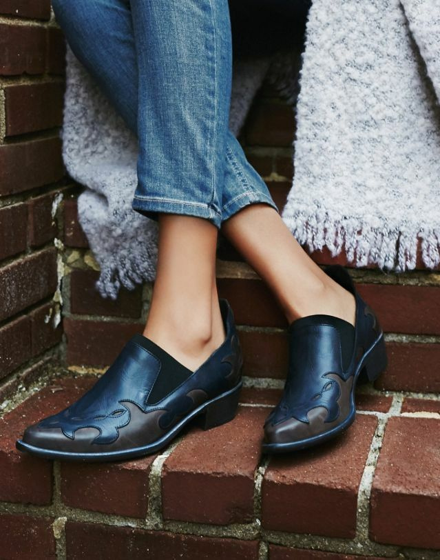 Nuevas Azul Botas Zapatos Free People Monterey occidental Botines Medianoche Azul Nuevas y Marrón b45ddd