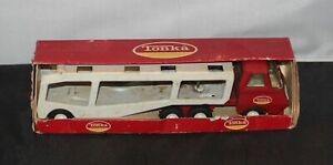Vintage-1970-s-Mini-Tonka-636-Pressed-Steel-Car-Carrier-w-box