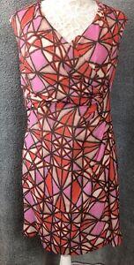 MINUET-PETITE-Size-14-Dress-Orange-Pink-Silk-Blend-Crossover-Ruched-Wedding