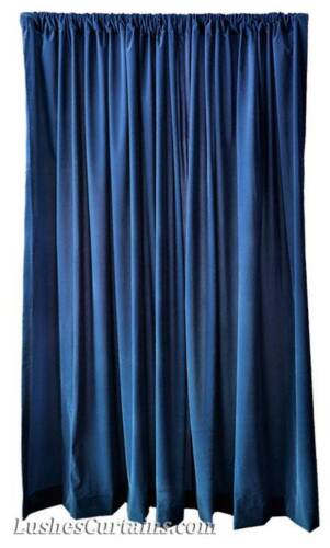 "120"" H Navy Blue Velvet Curtain Long Panel Drapery Church/School Stage Drapes"