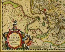 Historische Landkarte Ostfriesland Friesland Oldenburg Jever Emden Aurich 1658