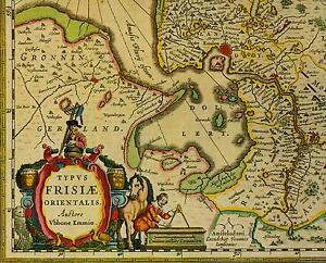 Historische Landkarte Ostfriesland Friesland Oldenburg Jever Emden