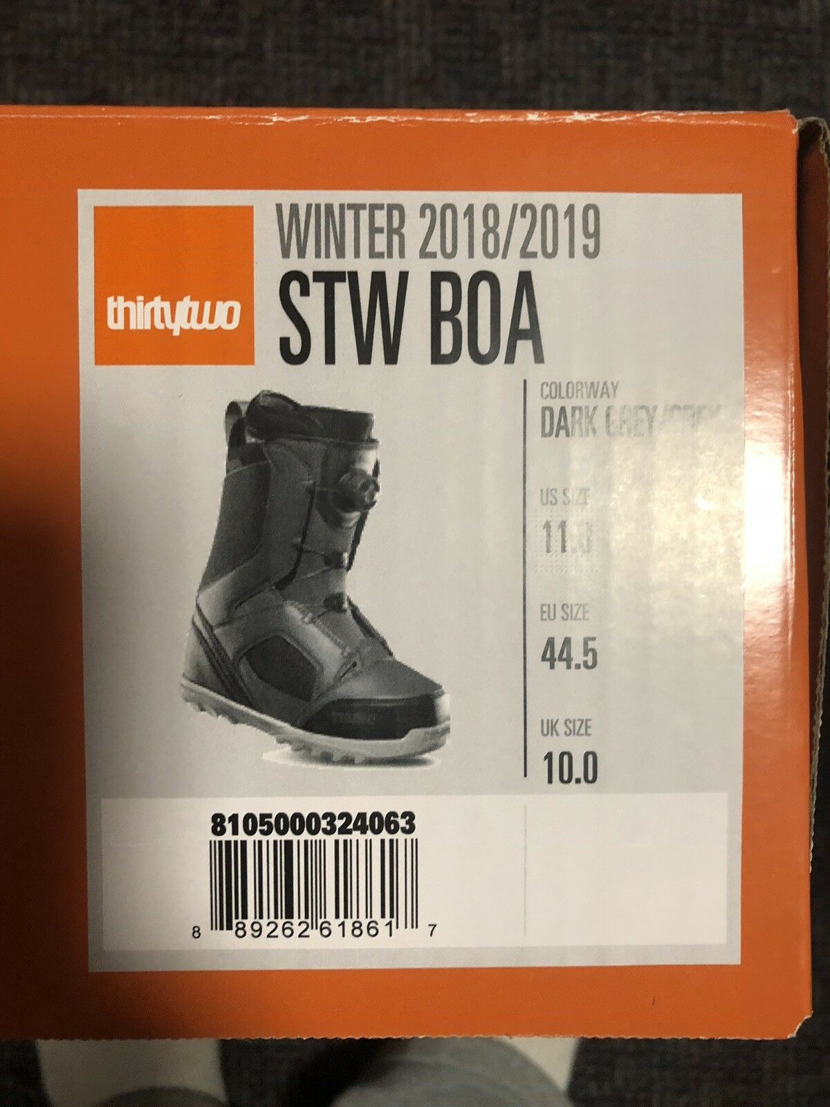 ThirtyTwo STW Men's Dark Grey  BOA Snowboard Boots Sz 11  lowest prices