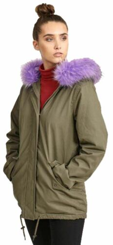 New Womens Lilac Color Fur Sherpa Fleece Lined Hooded Winter Coats 8-16