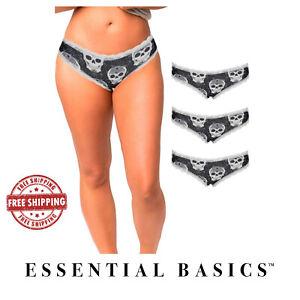 Women's Underwear Bikini Cotton Packs of Skull Designed Panties (Lot of 3-10 pk)