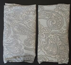 2 Pale Blue Grey Paisley Pottery Barn Pillow Shams Cases