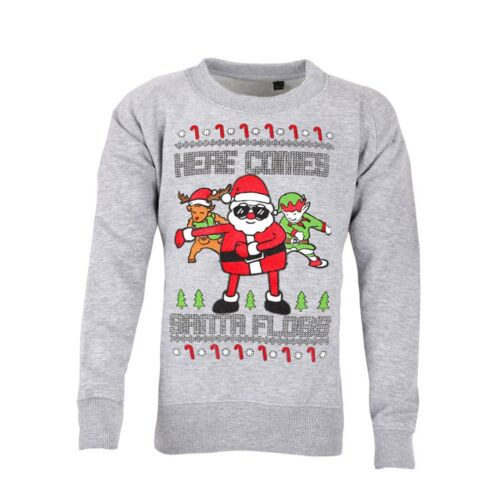 Unisex Kids Boys Girls Christmas Sweater Here Comes Santa Floss Sweatshirt Funny