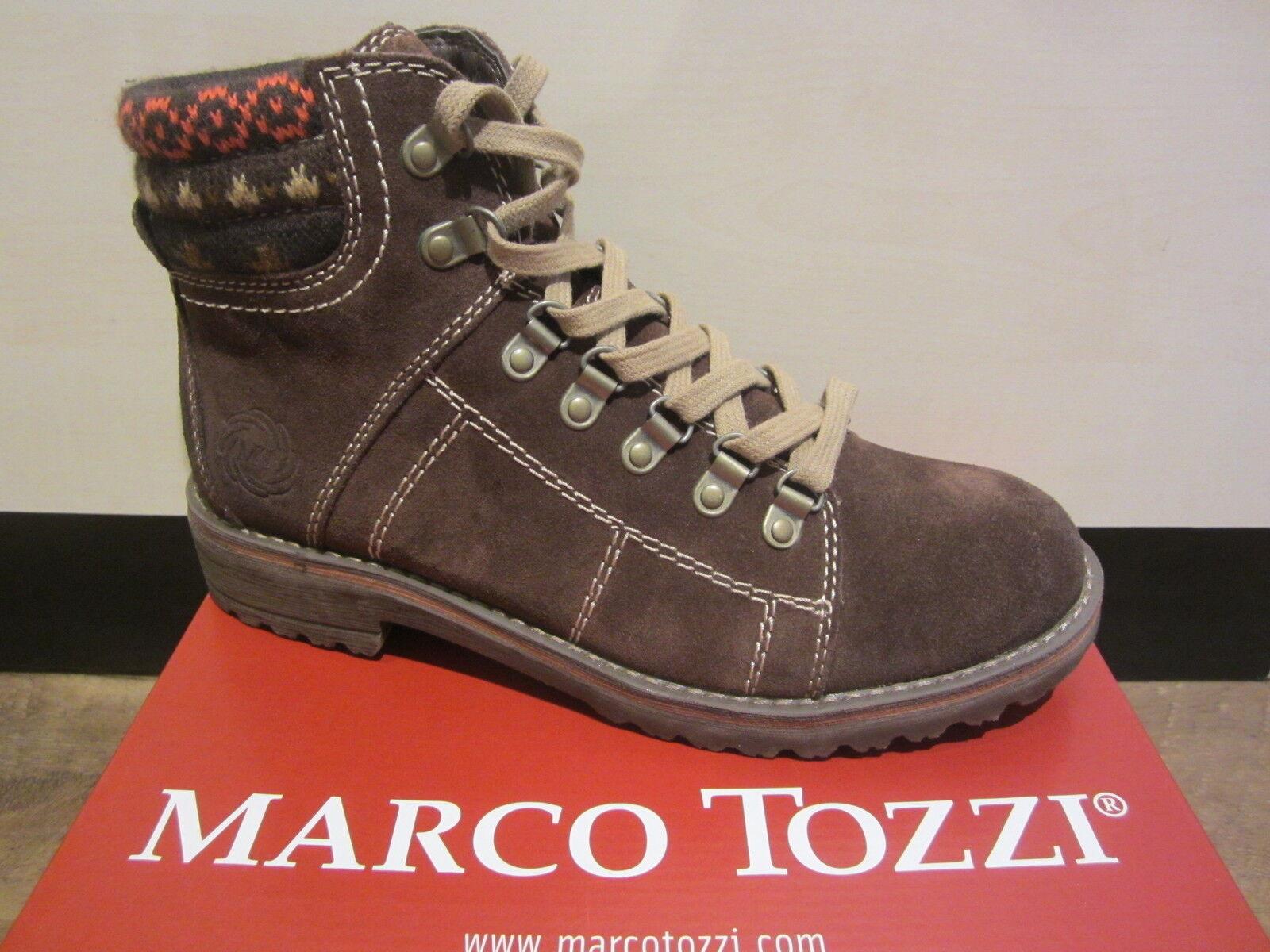 Zapatos especiales con descuento Marco Tozzi Stiefel zum Schnüren, Leder, braun, warm gefüttert NEU!!