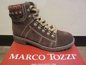 Details about Marco tozzi Ankle Boots Boots Winter Boots Leather Braun New