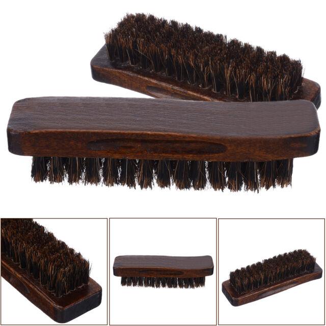 "Buff Horsehair Brushes Justin Blair 8/"" Large Professional Shoe Shine 2 Pack"