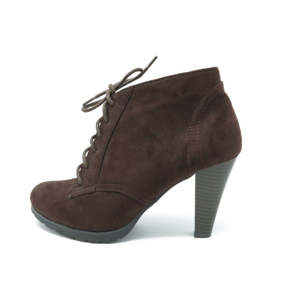 Rialto Serving Boots Ankle Booties Faux Leather Lace Up Brown Size 8 1 2 M