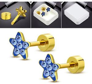 1Paar-Damen-Ohrstecker-Ohrringe-Stecker-Stern-Edelstahl-Gold-Kristalle-Blau