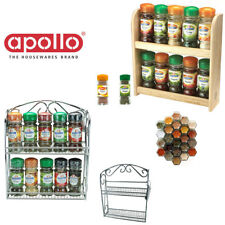 10 Jar Spice Rack Wooden Chrome Filled Bottles Cabinet Tiers Storage Herbs Shelf