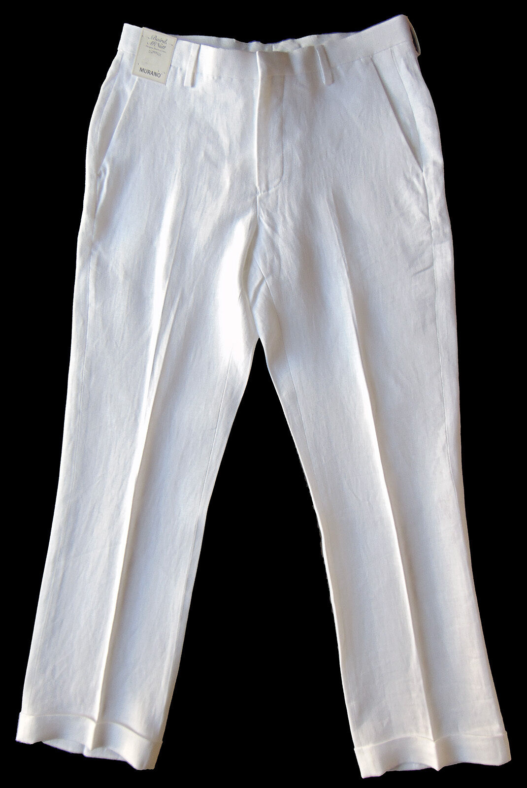 Men's MURANO White LINEN Dress Pants 33x32 NEW NWT S75PM720 Baird McNutt Nice
