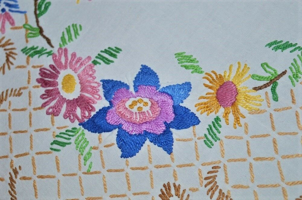 SPRING & AUTUMN RELIGIOUS CROSS OF FLOWERS  VINTAGE LARGE GERMAN HAND TABLECLOTH